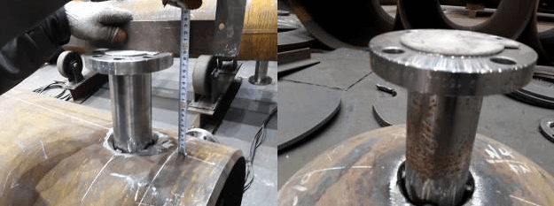 Long weld neck flange welding
