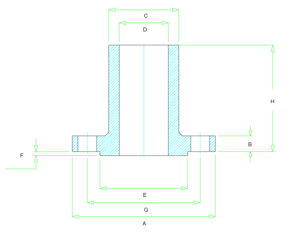 long weld neck flange dimensions