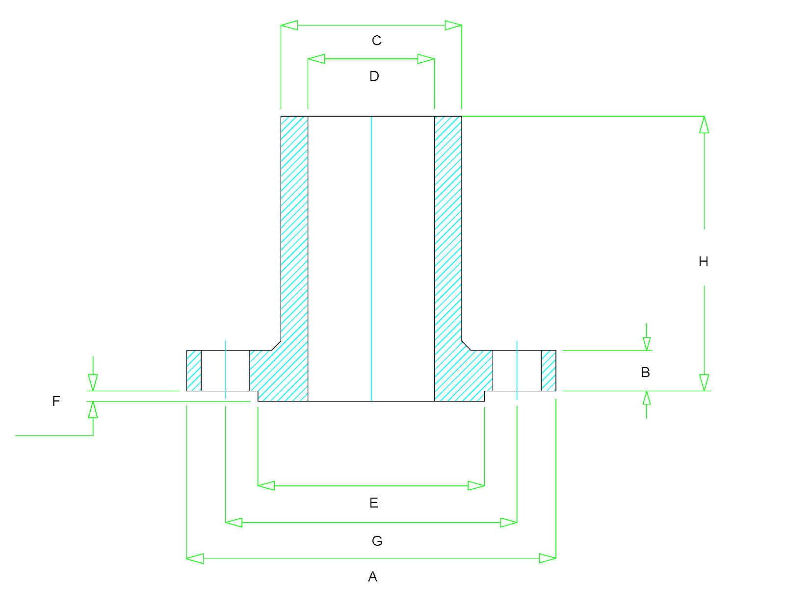 Long Weld Neck Flange Dimensions Class 150 To 2500 Diagram For Welding