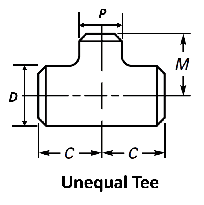 Pipe Tee Dimensions - Standard Reducing & Equal Tee