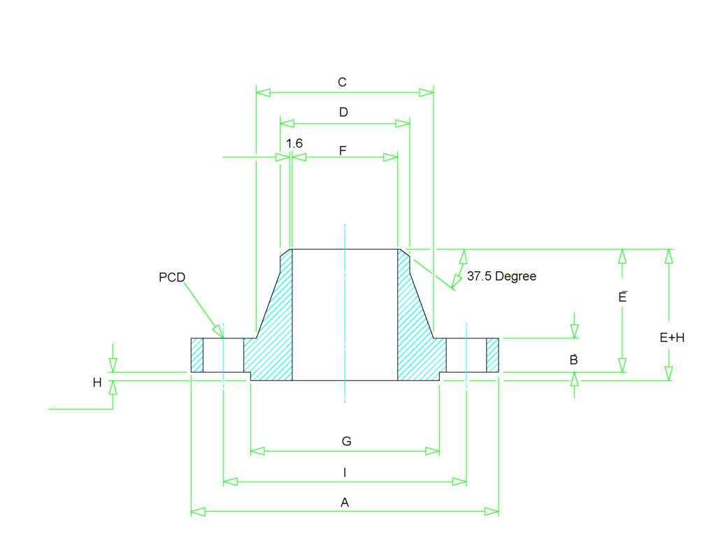 weld neck flange dimensions