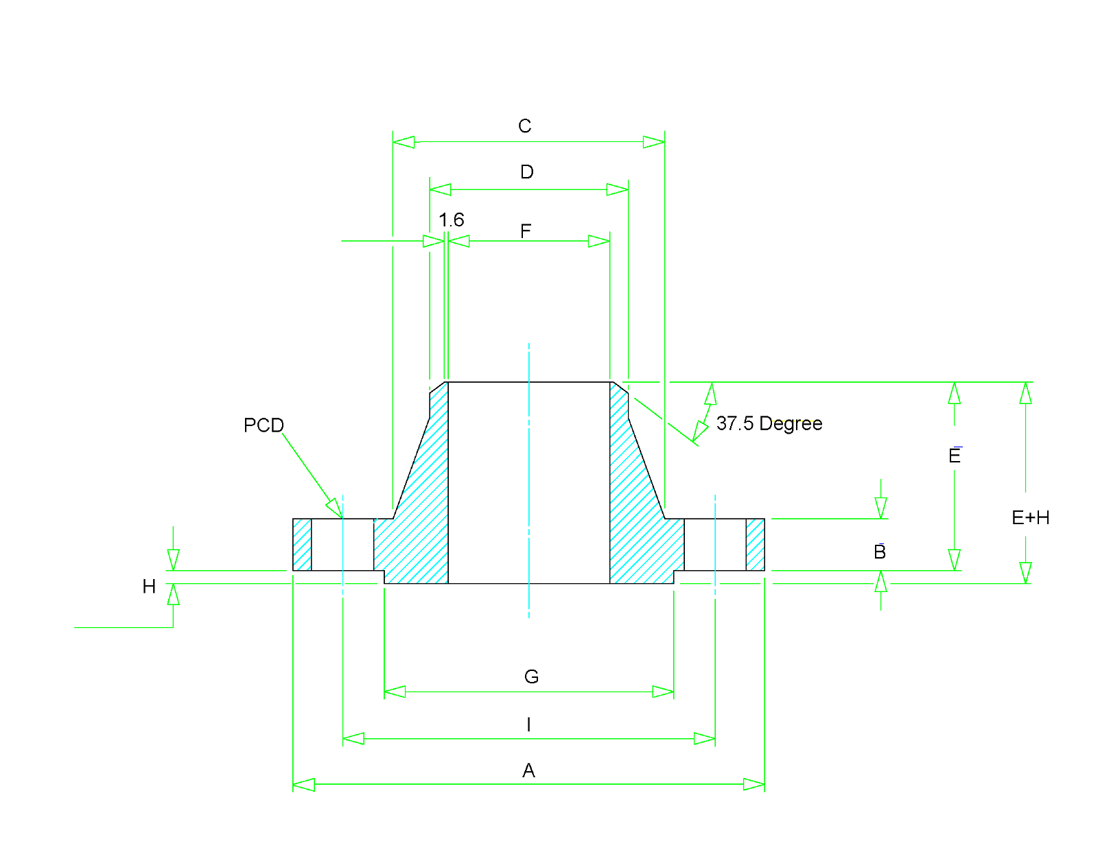 Weld Neck Flange Dimensions - Class 150 to Class 2500