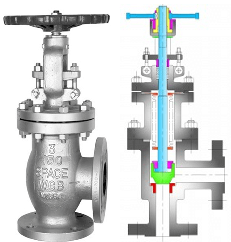 Angle types Globe Valve with cross section drawing