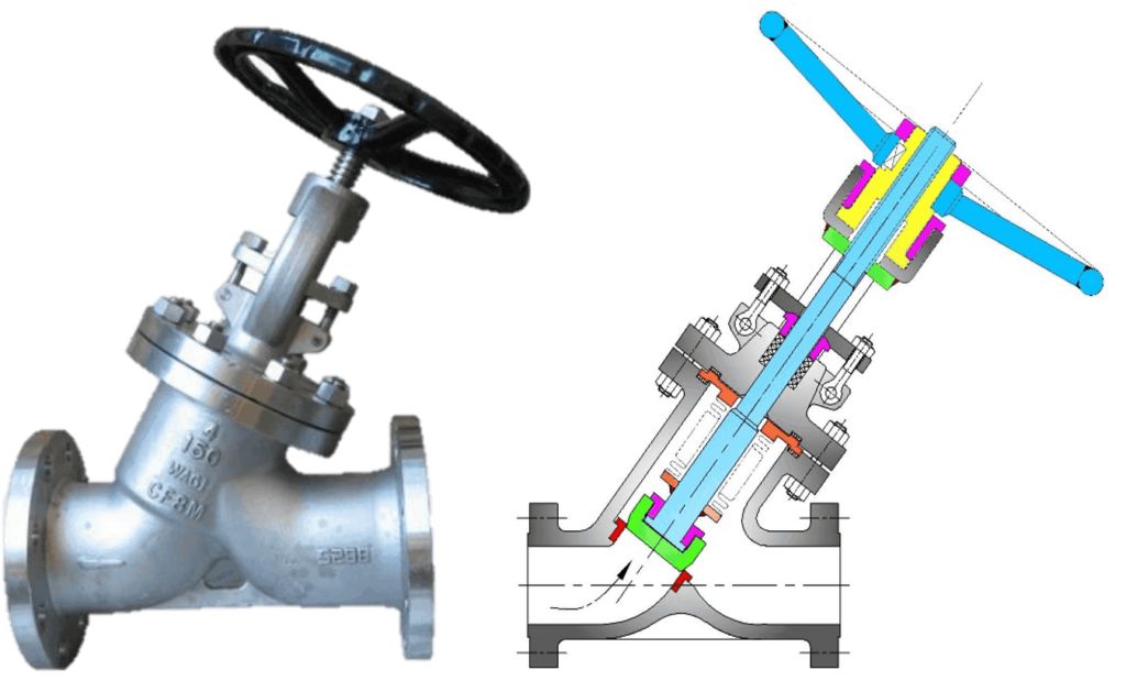 Y types Globe Valve with cross section drawing