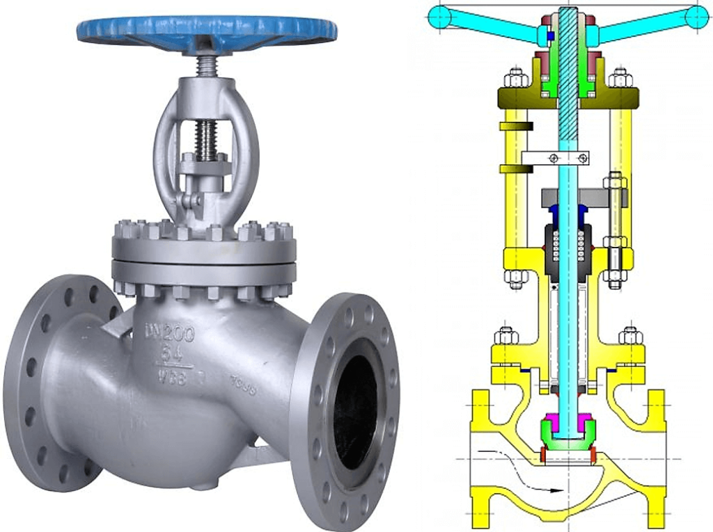 Z types Globe Valve with cross section drawing
