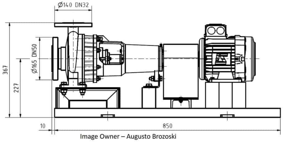 Side View of pump GA drawing