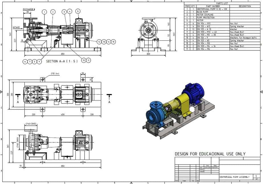 General Arrangement Drawing of Centrifugal Pump