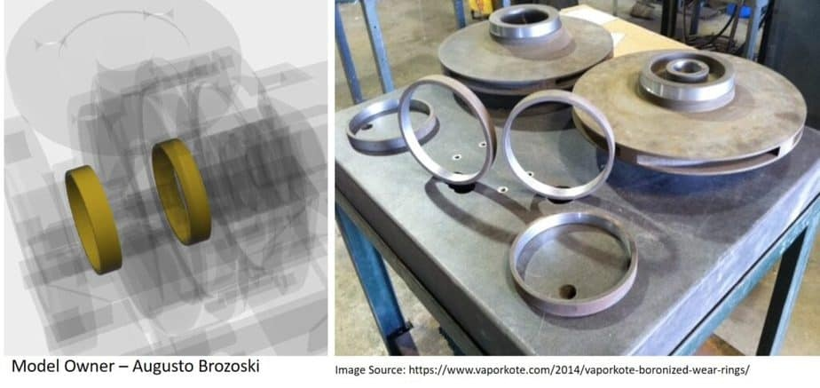 Wear rings used with pump impeller